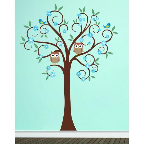 Farebný strom so sovičkami