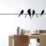 Samolepky na stenu - Vtáky na drôte