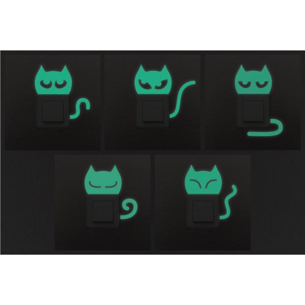 Balíček s nálepkami pre zásuvky a spínače - Fosforujúce mačiatka