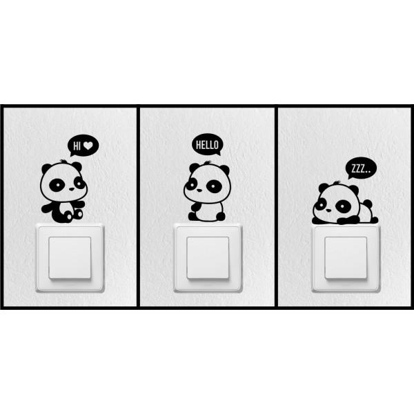 Balíček s nálepkami pre zásuvky a spínače - Medvedíky Panda