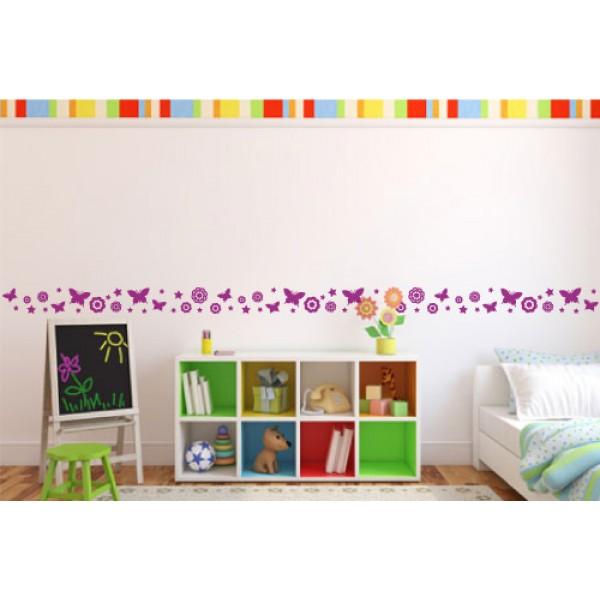 Bordúry na stenu - Kvetinky a motýle