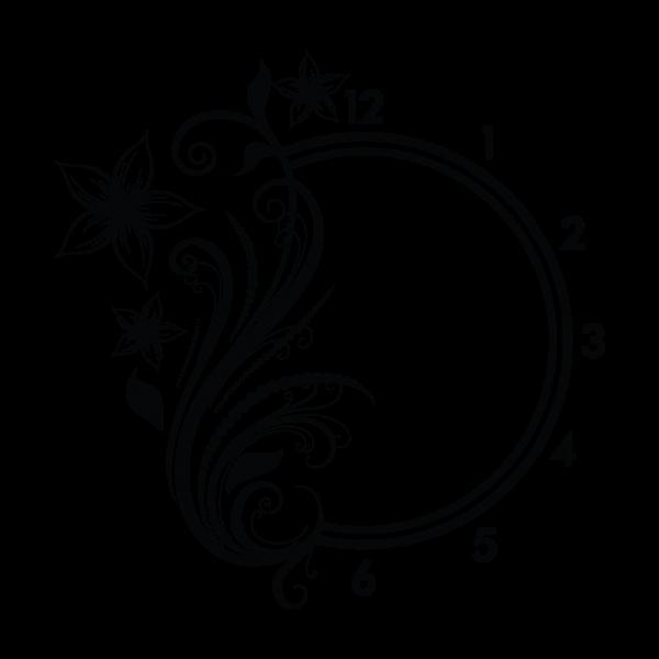 Kvetinová nálepka + nástenné hodiny