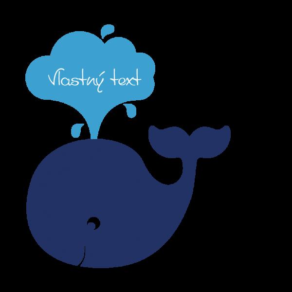 Veľrybka + Vlastný text (viacfarebná)