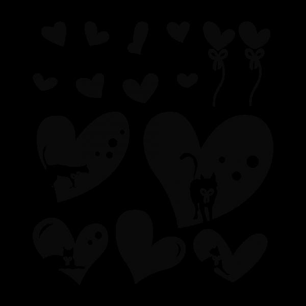 Balíček s nálepkami pre chladničku - Zamilované mačky, Tmavo-fialová (A1592)