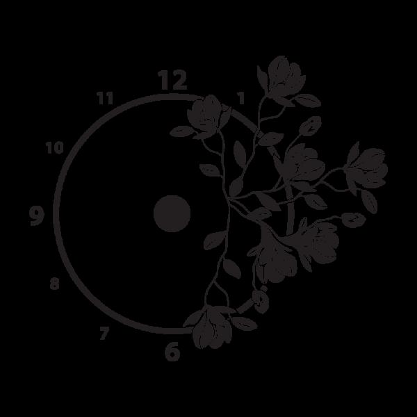 Magnólie + nástenné hodiny