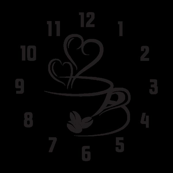 Kávička + nástenné hodiny