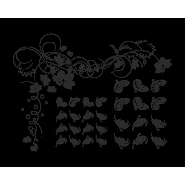 Popínavé kvety a motýle + kryštály Swarovski